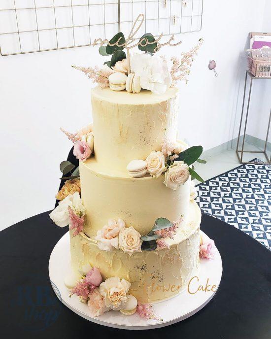 topper Milosc złote lustro Flower Cake